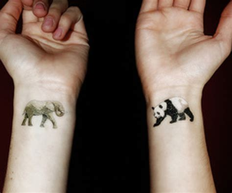 cute elephant n panda tattoo on wrist tattoos book 65