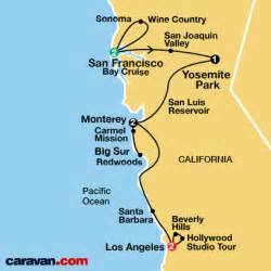 map of california coast of san francisco all inclusive california vacations caravan guided tours