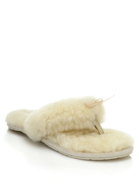 white house shoes ugg shearling thong slippers in white lyst
