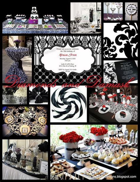 black and white theme wedding damask wedding