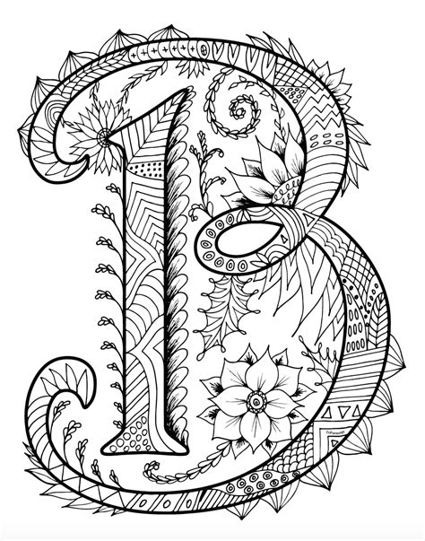 Alphabet B Coloring Pages by Zentangles Alphabet Coloring Book For Adults And Children