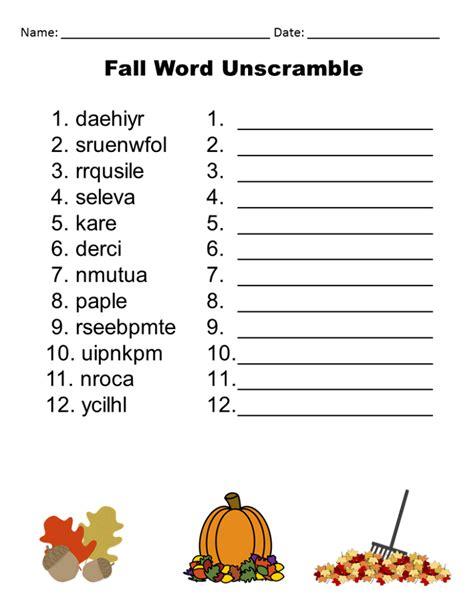 Unscramble Word Printable Free