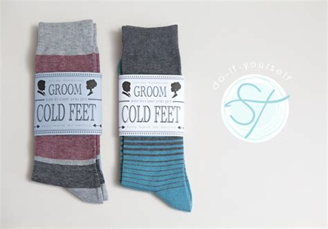 Learn How To Make An Adorable Groom Cold Feet Socks Gift Sock Label Template