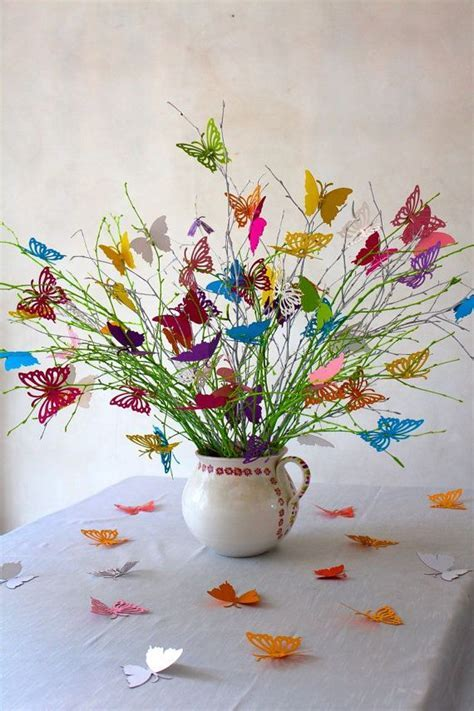 Wedding decoration butterflies bouquet in spring by