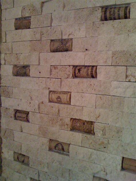 cork and split face travertine backsplash