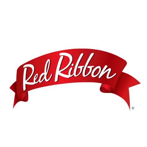 red ribbon logo font