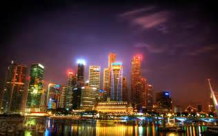 singapore skyline at night wallpaper images