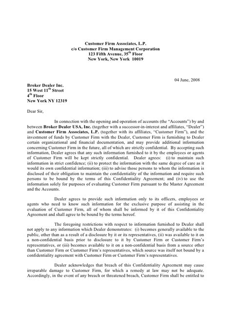 Letter Agreement To Maintain Confidentiality Of Information Generic Confidentiality Agreement