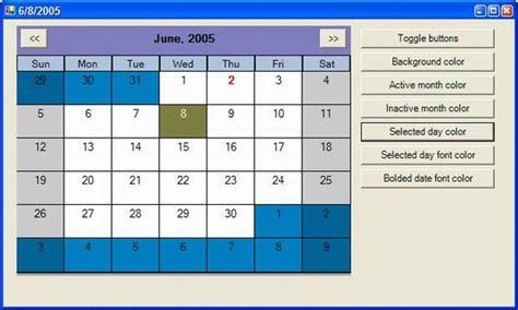 design calendar in vb net customizable monthcalendar type control part 1 codeproject
