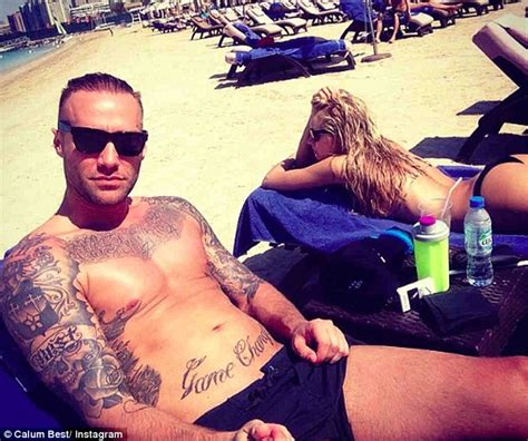 calum best soaks up the sun with stunning clad