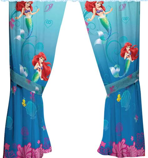 Disney Little Mermaid Drapes Flower Swirls Window Curtains