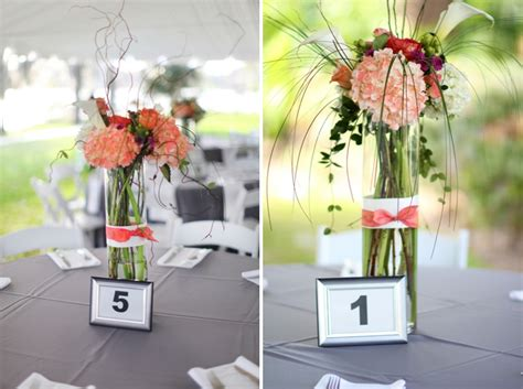 coral and grey wedding centerpieces modern coral and gray wedding every last detail