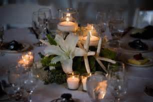 Centerpieces For Tables by White Floating Candle With Purple Orchid Flower On Glass