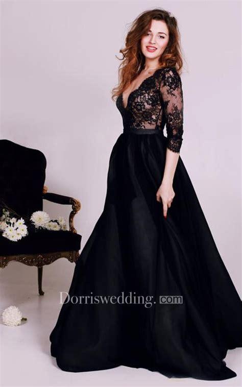 black wedding dress shop sexy black lace appliques v neck 2018 evening dress 3 4