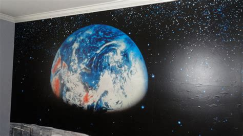 outer space wall mural boy s room space mural modern nashville by debbie