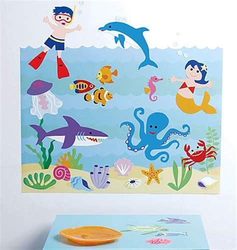 Wandtattoo Kinderzimmer Aquarium wandsticker fische seeaquarium kinderzimmer