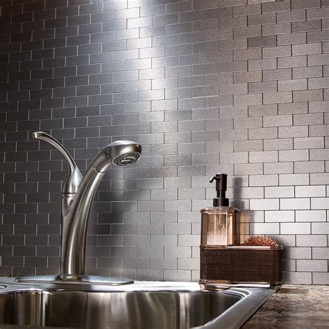 peel and stick stainless steel backsplash peel and stick matted metal backsplash tiles aspect