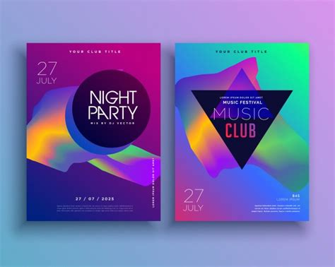 colorful party flyer template vector free download