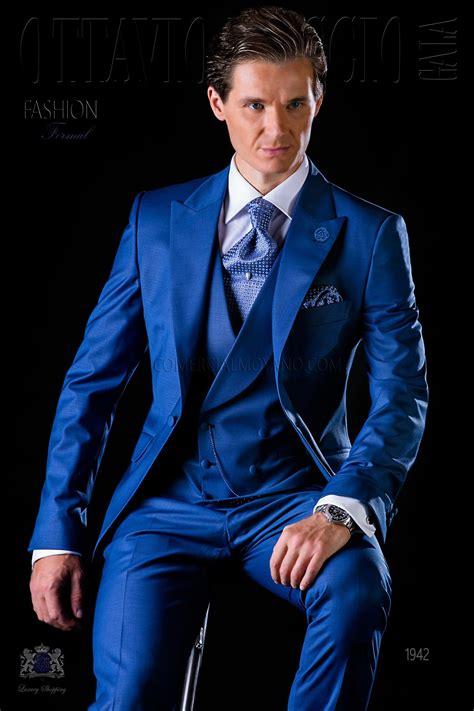 fresco tejido traje de novio semilevita azul royal tejido fresco en
