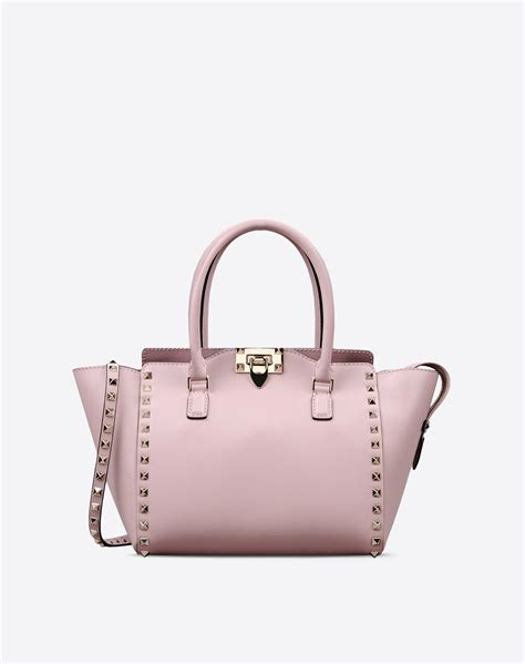 valentino rockstud small handle bag in pink lyst