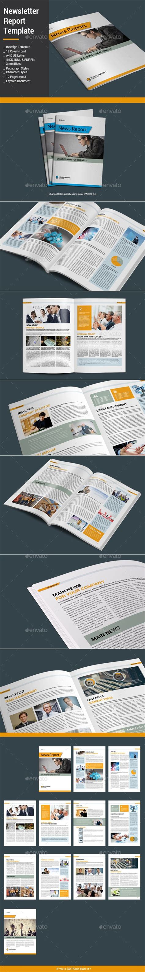 newspaper layout indd newsletter report template newsletter templates and