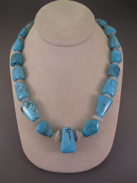 turquoise opal morenci turquoise necklace with opal accents by bruce