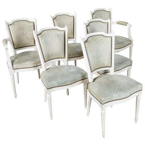 White Painted Dining Chairs Set Of Louis Xvi Style Dining Chairs Painted White With
