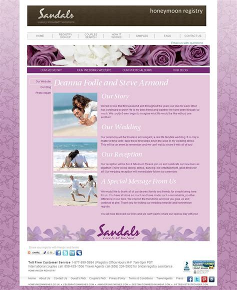 Wedding Websites with Weddingmoons!   Sandals Wedding Blog