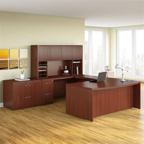 mayline aberdeen executive desk in cherry at10lcr