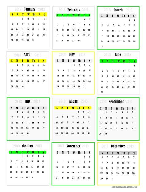 mini monthly calendar 2013 calendar template 2016