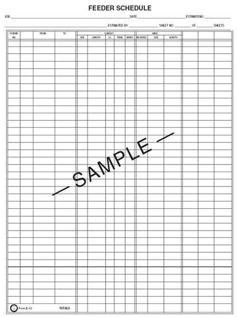 Feeder Dates Item Detail Estimate Sheet E 2