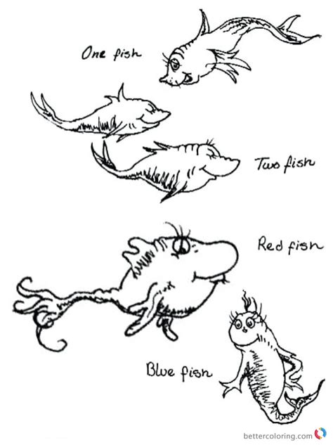 coloring page one fish two fish dr seuss one fish two fish coloring pages colorful fishes