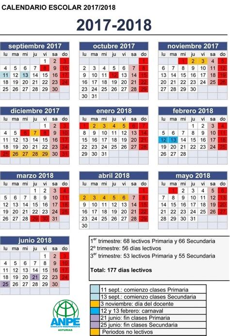 Calendario Escolar Madrid Capital 2017 Calendario Escolar Curso 2017 18