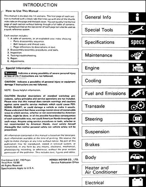 vehicle repair manual 1988 honda civic on board diagnostic system 1988 honda civic repair shop manual original