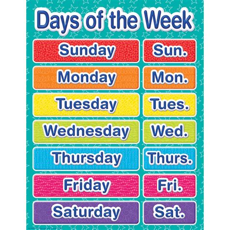 days of week color my world days of the week chart eureka school