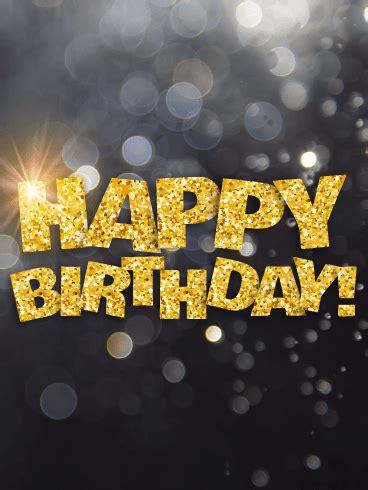 shining gold happy birthday card birthday greeting