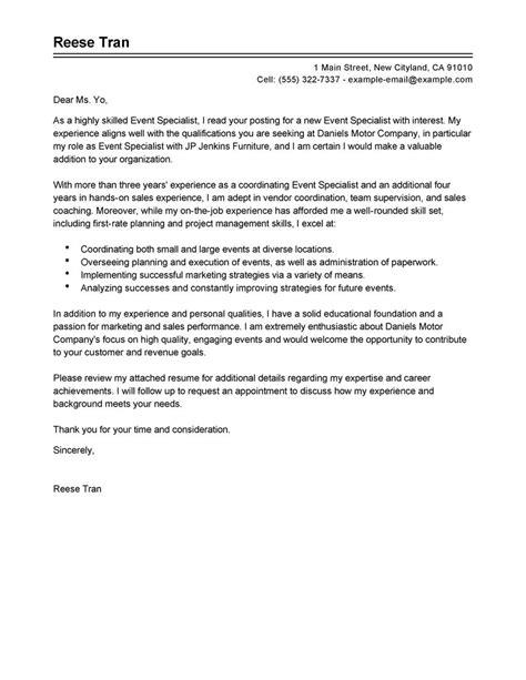 Sle Letter For Event Planning Best Event Specialist Cover Letter Exles Livecareer