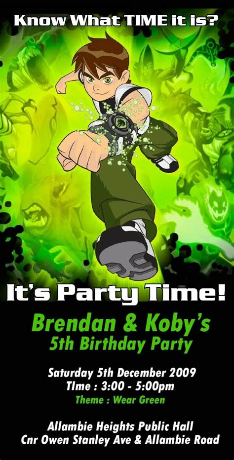 Ben 10 Birthday Invitation Cards Templates by Ben 10 Birthday Invitation Theme Ben Ten