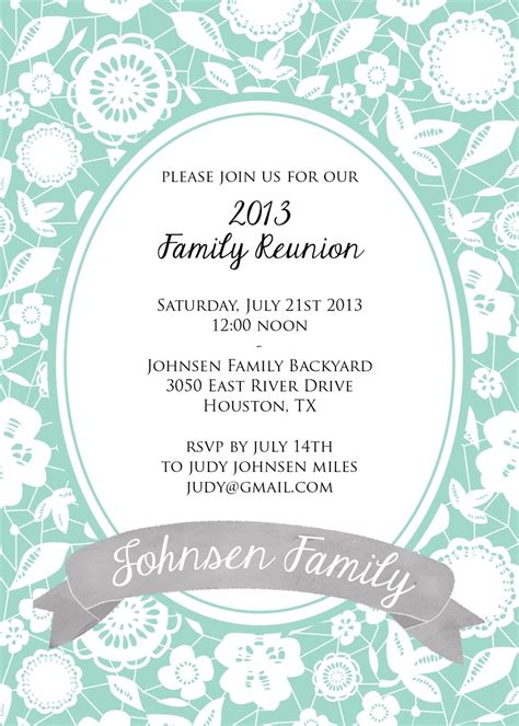 Family Reunion Invitation Card Templates by Family Reunion Invitation Card With Floral Pattern And