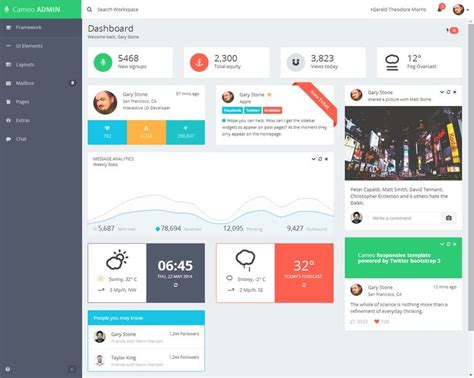 dashboard layout js cameo is premium responsive admin dashboard template built