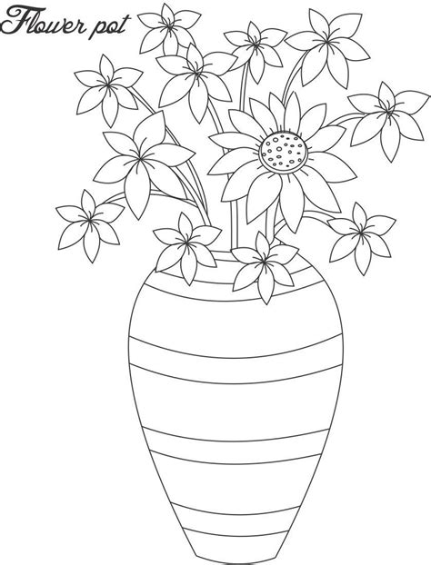 coloring page of a flower pot flower pot coloring page 13