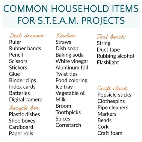 basic household items checklist steam projects at home with common household items