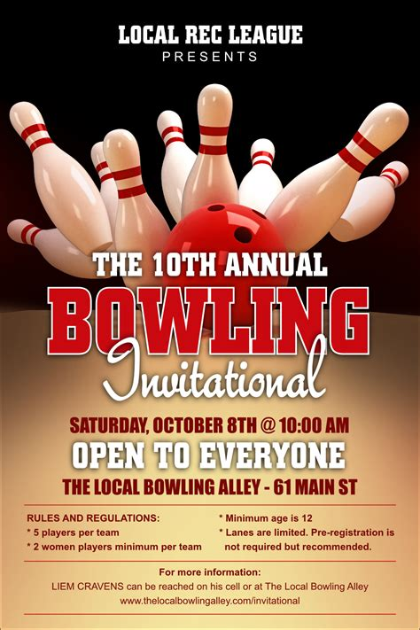 Bowling League Poster Bowling Event Flyer Template