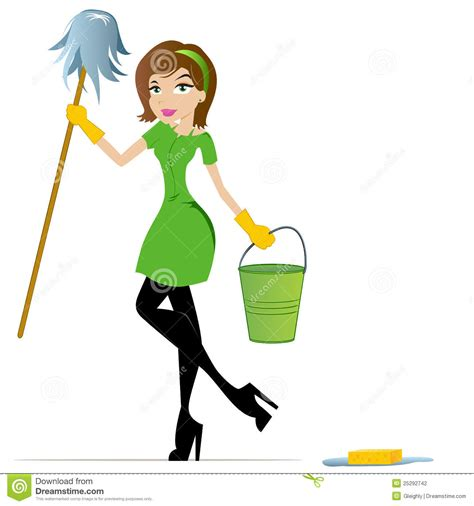 Beautiful Home Floor Plans Cleaning Lady Cartoon Mascot Stock Photography Image