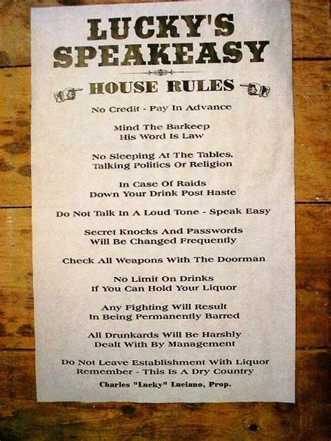 (175) GANGSTER LUCKY'S SPEAKEASY HOUSE RULES PROHIBITION