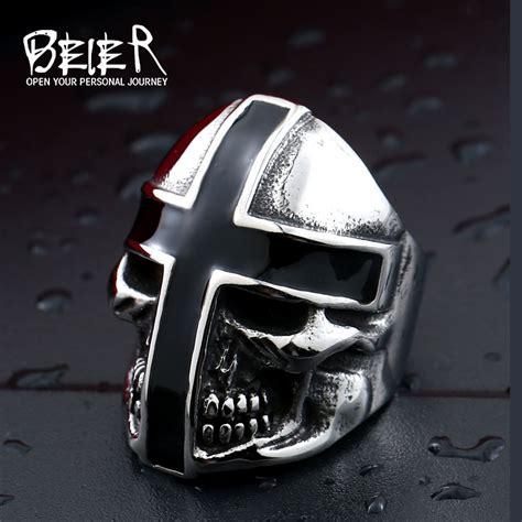 Cincin Beier Stainless Stell Domineering beier 316l stainless steel ring new design cross black glue domineering skull ring fashion