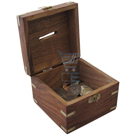 Handmade Money Box - wooden money box with brass corners handmade treasure