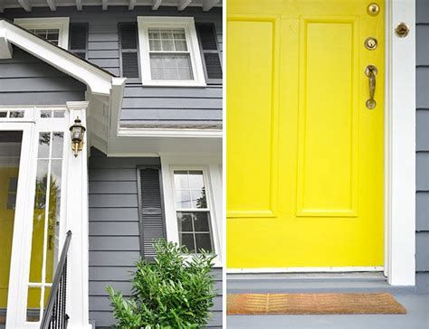gray house yellow door love this grey house with yellow door home decor