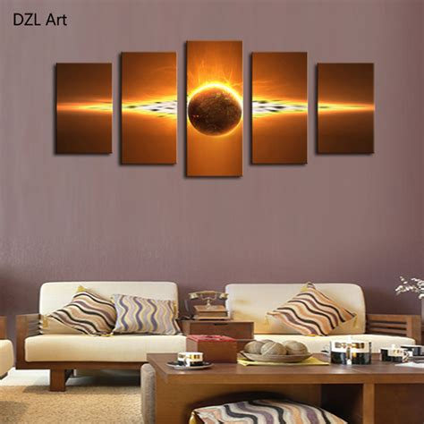 modern home wall decor 5 piece no frame hot sell sunrise modern home wall decor canvas picture art hd print painting