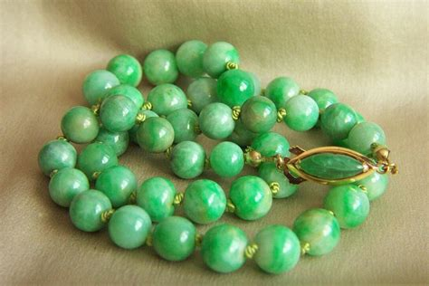antique jade bead necklace one of a 14k vintage jadeite jade bead necklace 20 5